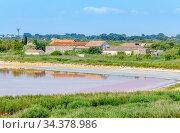 Settlement around a pink salt evaporation pond in the Camargue area... Стоковое фото, фотограф Zoonar.com/PRILL Mediendesign Fotografie / easy Fotostock / Фотобанк Лори