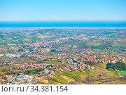 Adriatic seashore with San Marino and Rimini. Стоковое фото, фотограф Роман Сигаев / Фотобанк Лори