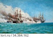 Locher Carl Ludvig - the Battle of Helgoland in 1864 - Danish School... (2020 год). Редакционное фото, фотограф Artepics / age Fotostock / Фотобанк Лори
