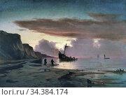 Locher Carl Ludvig - Fishermen by a Wreck near Kandestederne - Danish... (2020 год). Редакционное фото, фотограф Artepics / age Fotostock / Фотобанк Лори