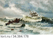 Locher Carl Ludvig - Rescue Boats Going out - Danish School - 19th... (2020 год). Редакционное фото, фотограф Artepics / age Fotostock / Фотобанк Лори