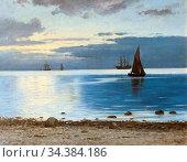 Locher Carl Ludvig - Evening Sail - Danish School - 19th and Early... (2020 год). Редакционное фото, фотограф Artepics / age Fotostock / Фотобанк Лори