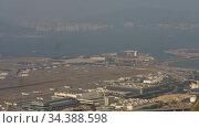 Aerial view at Chek Lap Kok airport, timelapse. Редакционное видео, видеограф Игорь Жоров / Фотобанк Лори