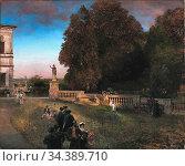 Achenbach Oswald - in the Park of the Villa Borghese - German School... Редакционное фото, фотограф Artepics / age Fotostock / Фотобанк Лори