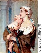 Bach Guido - Mother and Child - German School - 19th Century. Редакционное фото, фотограф Artepics / age Fotostock / Фотобанк Лори