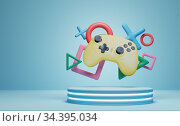 Stick of a yellow game controller close-up. Video games, entertainment at home. 3d rendered. Стоковое фото, фотограф Александр Якимов / Фотобанк Лори