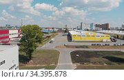 "July 27, 2020 RUSSIA, KAZAN - modern industrial warehouses zone - technopolis ""Himgrad"" Редакционное видео, видеограф Константин Шишкин / Фотобанк Лори"