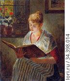 Firle Walther - Girl Reading - German School - 19th Century. Стоковое фото, фотограф Artepics / age Fotostock / Фотобанк Лори