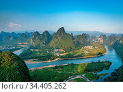 Shot of a Li river meandering through the beautiful green, lush and... Стоковое фото, фотограф Zoonar.com/Pawel Opaska / easy Fotostock / Фотобанк Лори