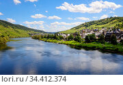 Wine village Puenderich on the Moselle, Puenderich, Rhineland-Palatinate, Germany . Редакционное фото, агентство Caro Photoagency / Фотобанк Лори