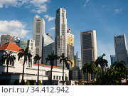 Singapore, Republic of Singapore, city view with skyscrapers in the business district. Редакционное фото, агентство Caro Photoagency / Фотобанк Лори