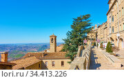 View of San Marino with street and bell tower. Стоковое фото, фотограф Роман Сигаев / Фотобанк Лори