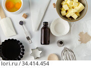 cooking ingredients and kitchen tools for baking. Стоковое фото, фотограф Syda Productions / Фотобанк Лори