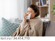 sick asian woman blowing nose with tissue at home. Стоковое фото, фотограф Syda Productions / Фотобанк Лори