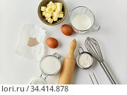 rolling pin, butter, eggs, flour, milk and sugar. Стоковое фото, фотограф Syda Productions / Фотобанк Лори