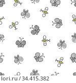 Hand-drawn colored vector illustration of a group of butterflies and bees is flying on a white background. Seamless pattern for coloring book. Стоковая иллюстрация, иллюстратор Татьяна Куклина / Фотобанк Лори