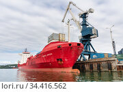 Portal crane unloading Russian cargo container ship Sasco Angara Sakhalin Shipping Company at pier container terminal commercial sea port (2018 год). Редакционное фото, фотограф А. А. Пирагис / Фотобанк Лори