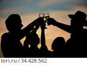 Senioren prosten sich abends vor einem Sonnenuntergang mit Sekt zu. Стоковое фото, фотограф Zoonar.com/Robert Kneschke / age Fotostock / Фотобанк Лори
