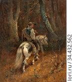 Schreyer Adolf - Reiter IM Wald - German School - 19th Century. Редакционное фото, фотограф Artepics / age Fotostock / Фотобанк Лори