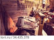 Tools in old workshop interior. Стоковое фото, фотограф Zoonar.com/Galyna Andrushko / easy Fotostock / Фотобанк Лори
