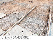 Repair of tram tracks in Moscow city - disassembled tram railroad. Стоковое фото, фотограф Zoonar.com/Valery Voennyy / easy Fotostock / Фотобанк Лори