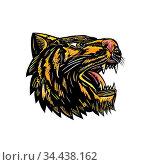 Woodcut style illustration of an angry growling tiger head viewed... Стоковое фото, фотограф Zoonar.com/aloysius patrimonio / easy Fotostock / Фотобанк Лори