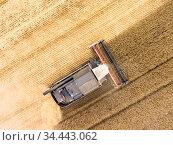 Crop harvesting combine working on agricultural field, top view from drone. Стоковое фото, фотограф Кекяляйнен Андрей / Фотобанк Лори