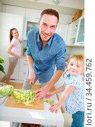 Vater schneidet Salat mit Messer und seine Tochter schaut dabei zu. Стоковое фото, фотограф Zoonar.com/Robert Kneschke / age Fotostock / Фотобанк Лори
