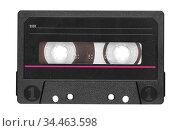 Old audio tape compact cassette with blank label. Стоковое фото, фотограф Александр Лычагин / Фотобанк Лори