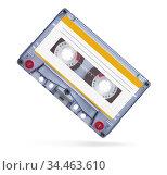 Old audio tape compact cassette isolated on white. Стоковое фото, фотограф Александр Лычагин / Фотобанк Лори