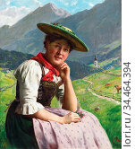 Rau Emil - Country Girl in an Alpine Landscape - German School - ... Стоковое фото, фотограф Artepics / age Fotostock / Фотобанк Лори