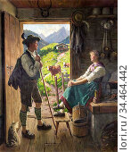 Rau Emil - Rendezvous Auf Der Alm - German School - 19th Century. Стоковое фото, фотограф Artepics / age Fotostock / Фотобанк Лори
