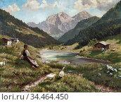 Rau Emil - Summer in the Alps - German School - 19th and Early 20th... Стоковое фото, фотограф Artepics / age Fotostock / Фотобанк Лори