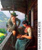 Rau Emil - Zitherspielerin - German School - 19th Century. Стоковое фото, фотограф Artepics / age Fotostock / Фотобанк Лори