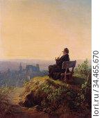 Spitzweg Carl - Friedlicher Abend - German School - 19th Century. Редакционное фото, фотограф Artepics / age Fotostock / Фотобанк Лори