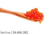 Little wooden spoon with salted russian red caviar of sockeye salmon... Стоковое фото, фотограф Zoonar.com/Valery Voennyy / easy Fotostock / Фотобанк Лори