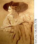 Wolfthorn Julie - Portrait - German School - 19th Century. Редакционное фото, фотограф Artepics / age Fotostock / Фотобанк Лори
