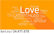 LOVE in different languages, words collage vector illustration. Стоковое фото, фотограф Zoonar.com/Ruslan Gilmanshin / age Fotostock / Фотобанк Лори