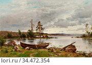 Munsterhjelm Hjalmar - Landscape - Finnish School - 19th Century. Редакционное фото, фотограф Artepics / age Fotostock / Фотобанк Лори