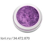 Purple color eyeshadow powder with glitter particles, in round grey... Стоковое фото, фотограф Zoonar.com/Arthur Mustafa / easy Fotostock / Фотобанк Лори