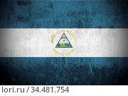 Weathered Flag Of Nicaragua, fabric textured. Стоковое фото, фотограф Zoonar.com/Ruslan Gilmanshin / age Fotostock / Фотобанк Лори