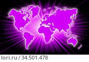 Map of world with starburst on background, purple. Стоковое фото, фотограф Zoonar.com/Micha Klootwijk / age Fotostock / Фотобанк Лори