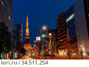 Tokyo Tower at dusk with Tokyo skyline city scape in monato ward.... Стоковое фото, фотограф Zoonar.com/Vichie81 / easy Fotostock / Фотобанк Лори