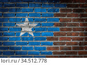Very old dark red brick wall texture with flag - Somalia. Стоковое фото, фотограф Zoonar.com/Micha Klootwijk / age Fotostock / Фотобанк Лори