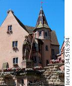 Burg, Eguisheim, Elsaß, Egisheim, egsa, dorf, vogesen, marktplatz... Стоковое фото, фотограф Zoonar.com/Volker Rauch / easy Fotostock / Фотобанк Лори