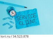 Word writing text Service Client. Business photo showcasing Dealing... Стоковое фото, фотограф Zoonar.com/Artur Szczybylo / easy Fotostock / Фотобанк Лори