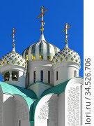 White stone St. Nicholas Church  (fragment). Krasnogorsk. Редакционное фото, фотограф Валерия Попова / Фотобанк Лори