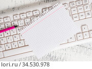 White keyboard office supplies empty rectangle shaped paper reminder... Стоковое фото, фотограф Zoonar.com/Artur Szczybylo / easy Fotostock / Фотобанк Лори