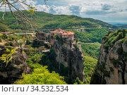 View of the stunningly located Roussanou monastery in Meteora valley... Стоковое фото, фотограф Zoonar.com/Pawel Opaska / easy Fotostock / Фотобанк Лори