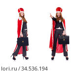 Woman business posing as queen isolated on white. Стоковое фото, фотограф Elnur / Фотобанк Лори